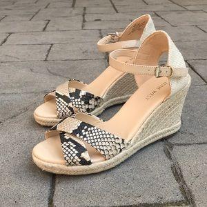 Cream Nine West Snakeskin Espadrille Wedge Sandals